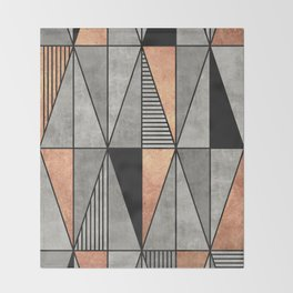 Concrete and Copper Triangles Throw Blanket
