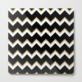 Black Gold White Chevron Pattern Metal Print
