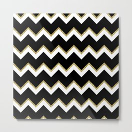 Black Gold White Chevron Pattern Metal Print