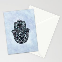 Watercolor Blue Pink Hamsa Hand Stationery Cards