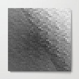 Gray Ombre Pixels Metal Print