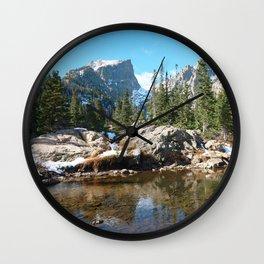 Watercolor Landscape, Dream Lake 01, RMNP, Colorado Wall Clock