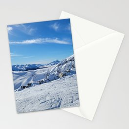 Play of light on mountains snow Stationery Cards