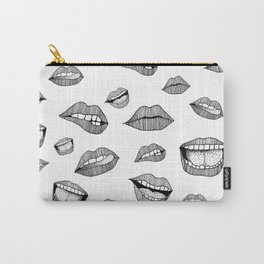 Lips. Black and white drawing. Carry-All Pouch