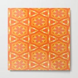 Orange and Yellow Stars and Hearts 9055 Metal Print
