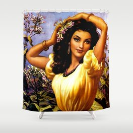 Mexican Beauty with Purple Flower by Jesus Helguera Shower Curtain