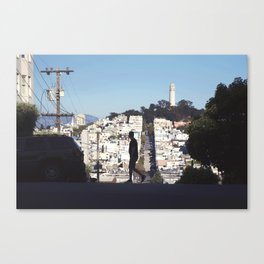 Silhouette from Near Lombard Looking Toward Coit Tower, San Francisco Canvas Print