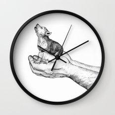 Wolf Cub // Graphite Wall Clock