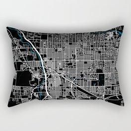 Tucson city map black colour Rectangular Pillow