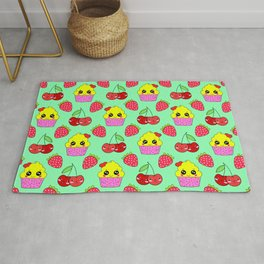 Cute funny sweet adorable happy little yellow baby cupcakes, little cherries and red ripe summer strawberries cartoon fantasy light pastel green pattern design Rug