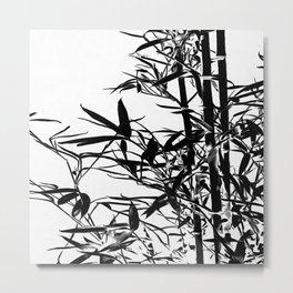Black Bamboo Silhouette On White Metal Print