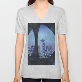 Watercolor painting of downtown Seattle, WA skyline with Space Needle as viewed through sculpture on Unisex V-Neck