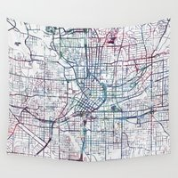 atlanta Wall Tapestries featuring Atlanta map by MapMapMaps.Watercolors