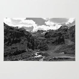 chairlift river kaunertal alps tyrol austria europe black white Rug