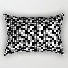Black, Medium Gray, and White Random Squares Mosaic Rectangular Pillow