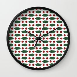Ladybugs and Leaves Wall Clock