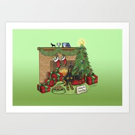 Manchester Terrier Christmas Art Print