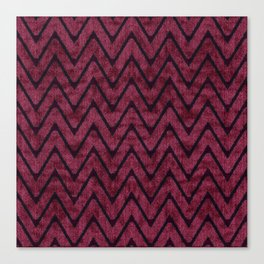 Rich Maroon  Zigzag Chevron Pattern Canvas Print