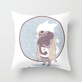 Moon child (blue) Throw Pillow