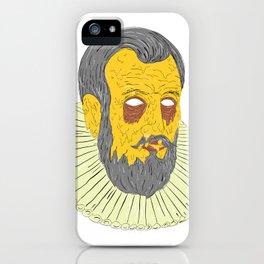 Nobleman Wearing Ruff Collar Grime Art iPhone Case