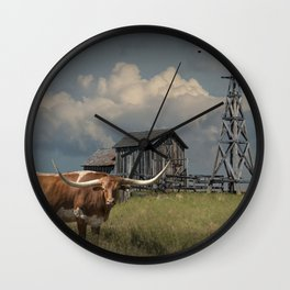 Longhorn Steer in a Prairie pasture by 1880 Town with Windmill and Old Gray Wooden Barn Wall Clock