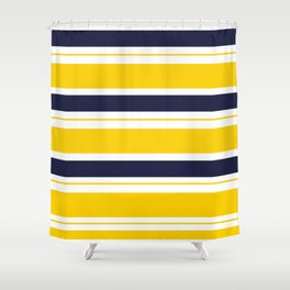 Yellow and Blue Horizontal Lines Stripes Shower Curtain