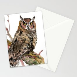 Owl in the woods, brown owl illustration Stationery Cards