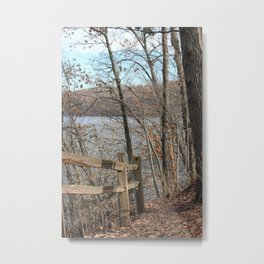 Fence on the path by the Lake Metal Print
