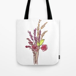 Wild Flower Bouquet Watercolor Painting Tote Bag