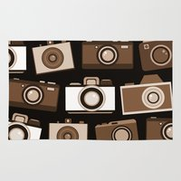 cameras Area & Throw Rugs featuring cameras (black) by vitamin