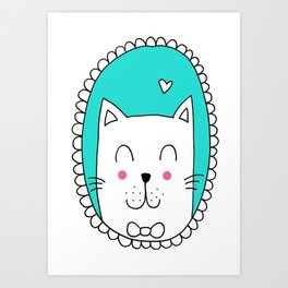 Kitty Cat Carla (Turquoise) Art Print