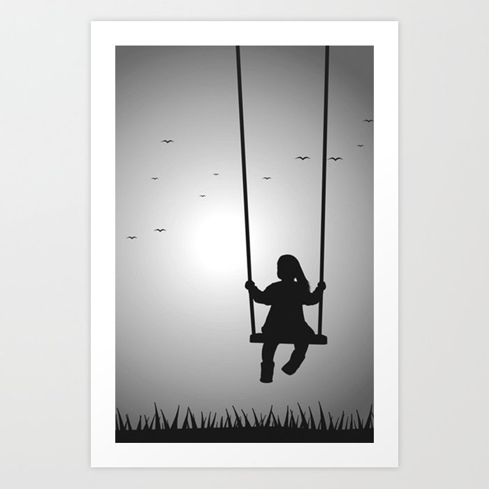Girl on a swing black and white art print