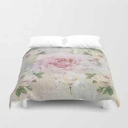 Romantic vintage roses and French handwriting Duvet Cover