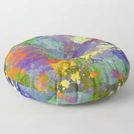 Signs Of Life - Vibrant, random paint splatter multi coloured abstract Floor Pillow