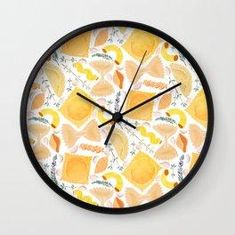 Pasta Pattern on White Wall Clock