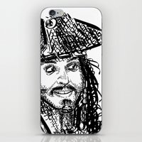 jack sparrow iPhone & iPod Skins featuring Jack Sparrow by Brittney Patterson