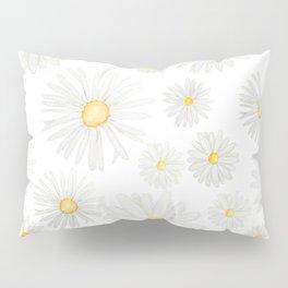 white daisy pattern watercolor Pillow Sham