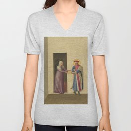 """Fra Angelico (Guido di Pietro) """"The Healing of Palladia by Saint Cosmas and Saint Damian"""" Unisex V-Neck"""