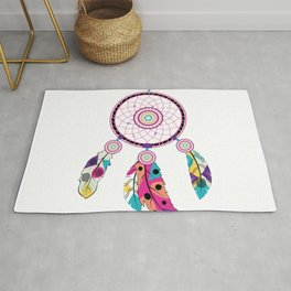 Decorative native dream catcher with colorful stylized feathers Rug