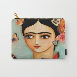Frida Collage with Butterfly and Rose Carry-All Pouch