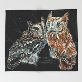 young love on a starry night - screech owls Throw Blanket