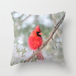 Winter's End Cardinal Throw Pillow