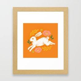 Jumping Rabbit and Flowers Framed Art Print
