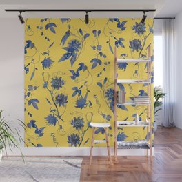 Elegant Blue Passion Flower on Mustard Yellow Wall Mural