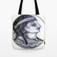 iron maiden Tote Bags featuring Maiden by David Ansted, Kosoof.