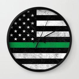 Thin Green Line Flag Wall Clock