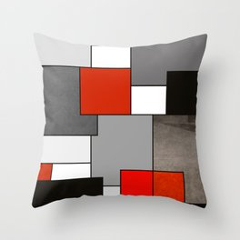 Modern Geometric Red and Black Throw Pillow