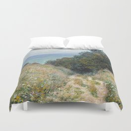 1882-Claude Monet-Road at La Cavée, Pourville-60 x 81 Duvet Cover