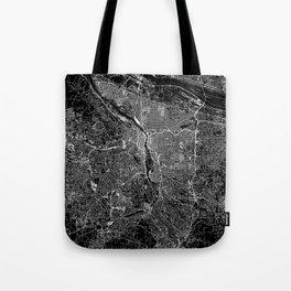 Portland Black Map Tote Bag