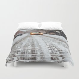 Yellow cab during snow Duvet Cover
